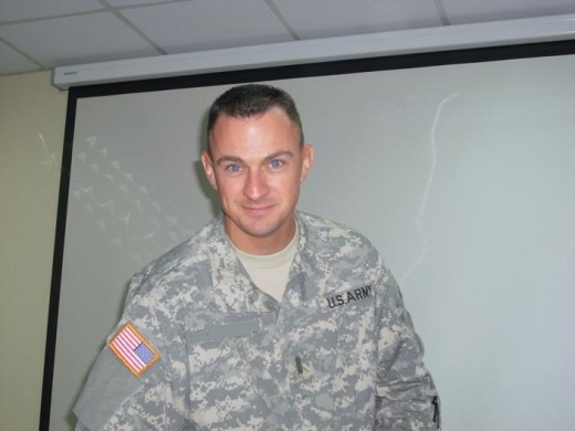 "This is a pic of my husband in Iraq the day our 3rd son was born. The soldiers had a ""welcome/congratulations"" party for him."