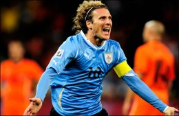 FIFA World Cup Semi Finals -Diego Forlan celebrates his equaliser during Uruguay's 3-2 defeat to the Netherlands (Getty Images)