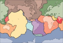 The major tectonic plate boundaries are pictured here. Note that there is now division in the Great Lakes region, where the Niagara escarpment is located. The boundaries are the location of most of the worlds earthquakes/