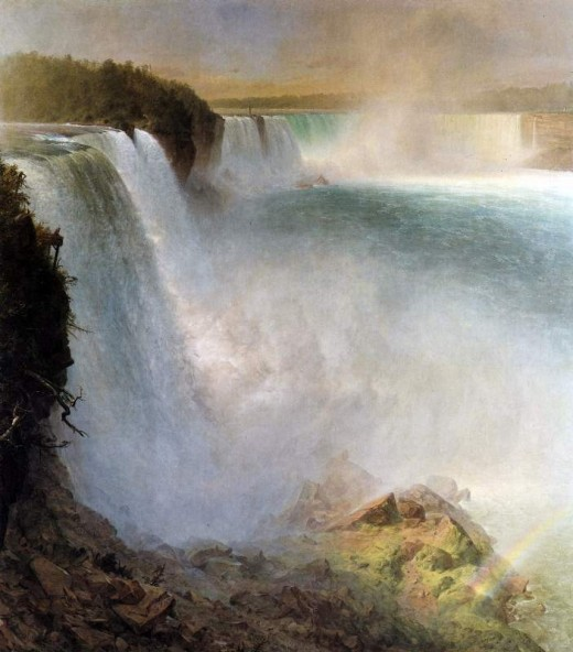 This painting of a bygone era before the region became a tourist attraction, shows the American Falls and the adjoining escarpment.