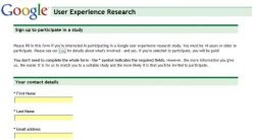 Google User Experience Research screenshot