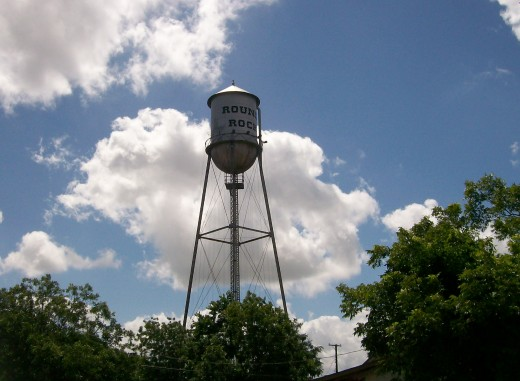 Round Rock water tower is centrally located in the historic district. copyright July 2010 Sandra Mireles