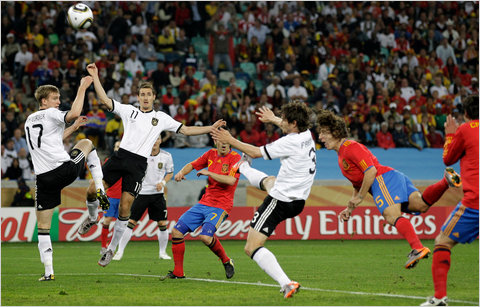 Spain's Carles Puyol, second from right, attempted to score against Germany on Wednesday July 7, 2010 South Africa Semi final
