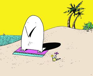An Albino Penguin on the beach at Ibiza