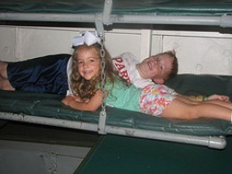 Trying out the bunk beds below deck.