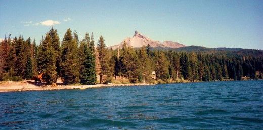View of Mt. Thielsen from our paddleboat on Diamond Lake