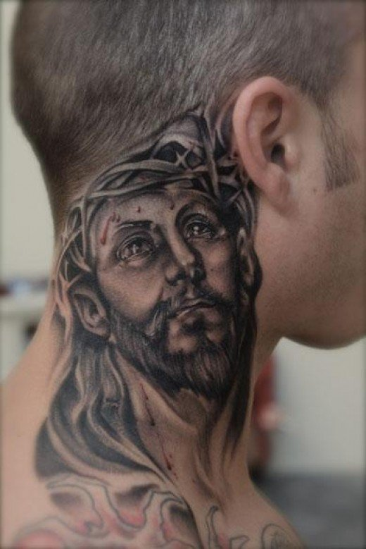 of my religious tattoos, in fact this neck tattoo is just damn stunning.
