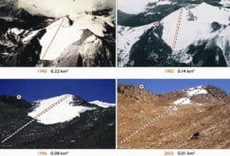 This time lapse photo montage shows a shrinking glacier over a few years.