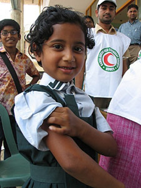 This young girl is one of 33.5 million children across Bangladesh being vaccinated against measles, a disease that claims the life of more than 20,000 children in Bangladesh each year.