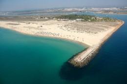 Birds eye view of Tavira island beach