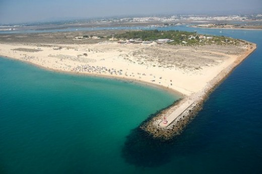 Birds eye view of Tavira island beach