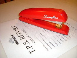 The classic Red Swingline stapler.