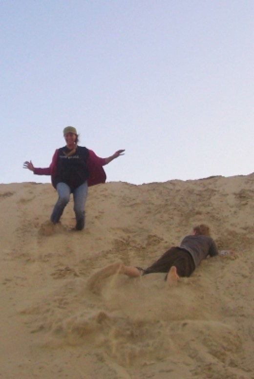 That's me on the left having just landed a little jump down a sand dune, and my eldest son (12) having already landed and watching me - even though we ran to jump at the same time - he's quick! (June 2010)