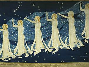 This interesting painting of the legend of the Milky Way carried through the sky by goddesses was painted by Frida Hanson (1855 - 1931). The repetition of female figures and folds of filmy starry fabric are also a type of fractal iterations.