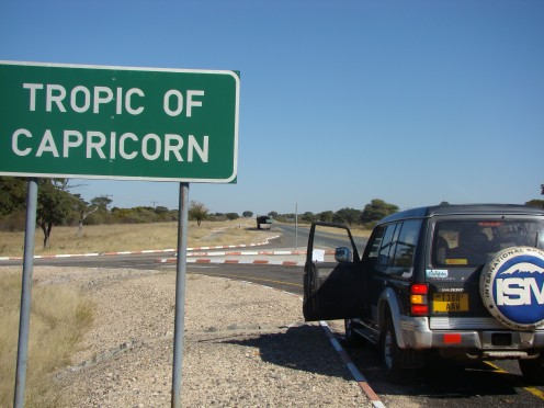 My car at the Tropic of Capricorn in Botswana