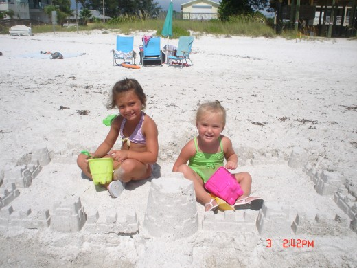Princesses Lexi and Audrie trying out their castle.