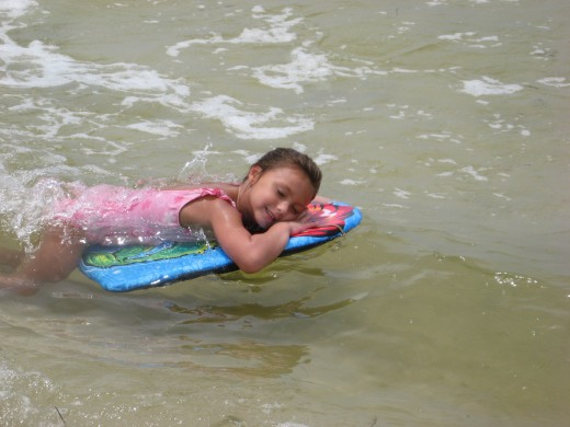 Lexi chillin' on her boogie board.