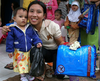 As part of Indonesia's integrated campaign, insecticide-treated nets were distributed to help prevent malaria.