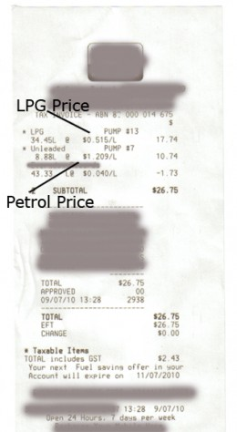 Recent receipt for Fuel both Petrol and LPG