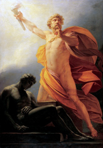 Prometheus steals fire from the gods.