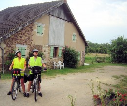 Cycling guests outside our gite.