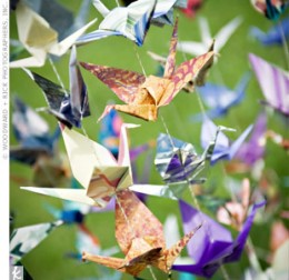 Origami cranes are a customary favor in Japan.