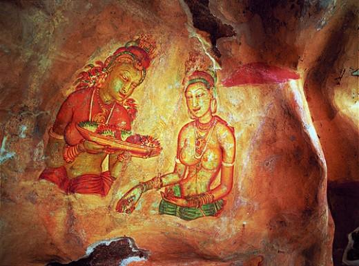 Sigiriya Prescoes Paintings Sri Lanka