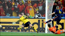 Iniesta powers a shot past Stekelenburg in the 116th minute for the game's only goal.