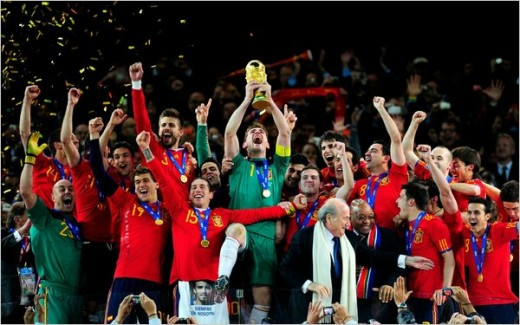 Spain celebrated its World Cup victory after Sundays match against the Netherlands. Photo - Jamie Mcdonald/Getty Images