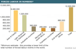 This graph shows the worst offenders for modern slaves and how many there are according to estimates.