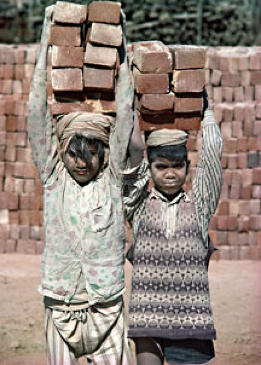 "Children as in India and elsewhere are put into forced labor. They represent ""the cutting edge"" in cost cutting."