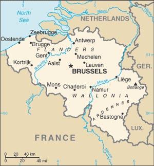 This is Belguim, 32,547 sq. kilometers, in Western Europe.