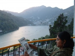 Relaxing in the balcony which overlooked the picturesque lake