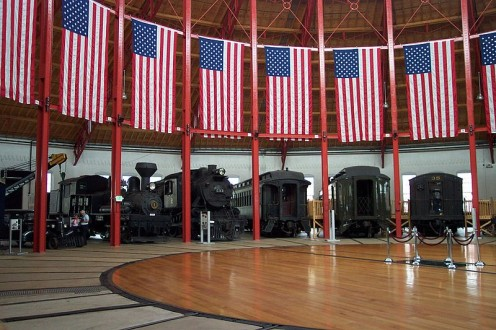 Locomotives in the roundhouse at the museum.