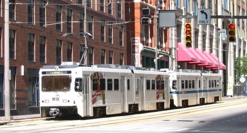Light rail in Baltimore.