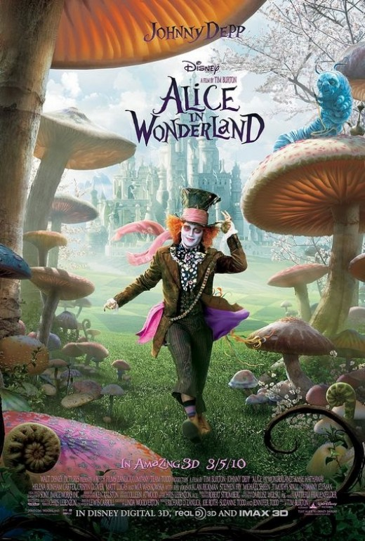 Alice In Wonderland 2010 starring Johnny Depp.