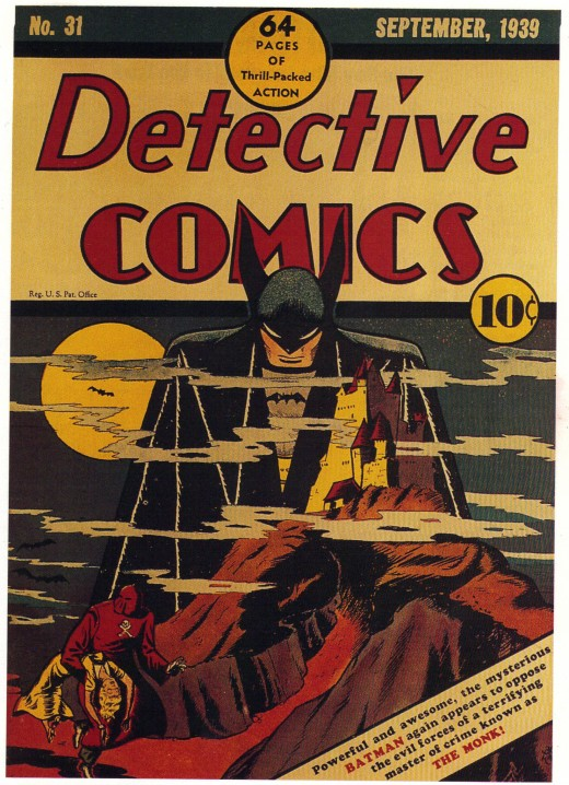 Cover of Detective Comics #31, September 1939. A vampirish Batman looms over Monk's castle.