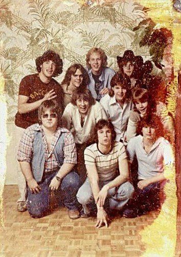 David pictured front and center, making a funny face with his band mates from Bacchus.