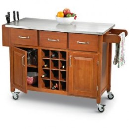 Kitchen Island Cart with Stainless Steel Top - Cherry Finish