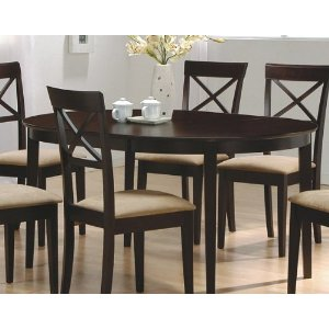Contemporary Cappuccino Finish Oval Dining Table