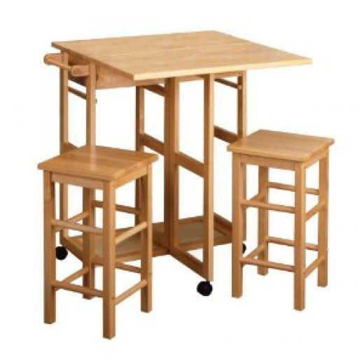 Winsome Wood Table Drop Leaf Square Stool, Natural