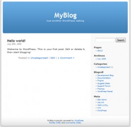 Wordpress default welcome page after installation