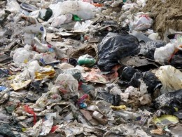 Plastic bags, sacks and other plastics at the dump