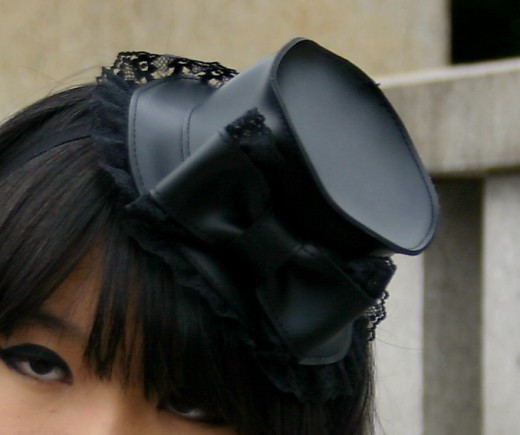If you think a bow in your hair is too girlie, then how about a little Victorian inspired hat? Again, a great accessory that can finish off a lovely goth-inspired outfit