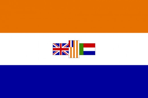 "The ""old"" South African flag. In the white band in the centre are (from left to right) the Union Flag, the flag of the Orange Free State and the ""Vierkleur"" of the Zuid Afrikaansche Republiek"