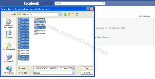 Facebook Photo Uploader - how to select multiple images to upload at once