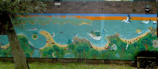 Bundeena Mural. From Left to Right: Maiainbar, Bonnievale, Horden beach, ferry wharf, Gunyah, Jibbon