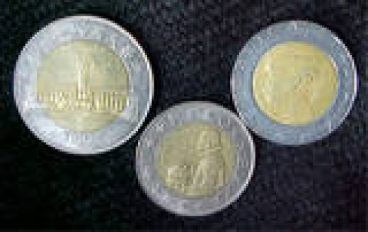 These are examples of bi-metallic coins