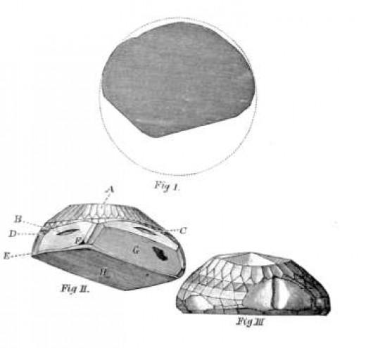 An old illustration of The Koh-I-Noor's cut.