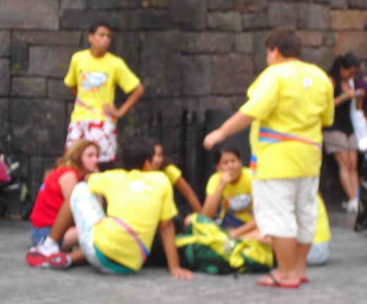 A gaggle of Samba Muggles (members of a Brazilian tour group) gather on one spot at Universal's Islands of Adventure's latest land, the Wizarding World of Harry Potter.